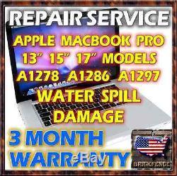 Macbook Pro A1278 A1286 A1297 Laptop Logic Board Water Damage Repair Service